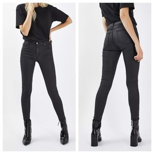 Topshop MOTO Black Coated Leigh Jeans, size 26